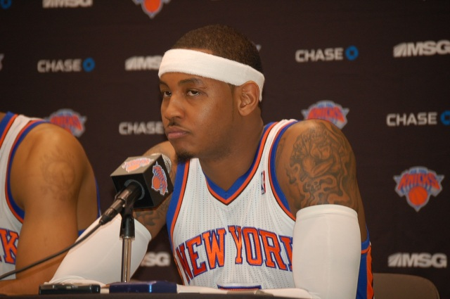 Carmelo Anthony of the New York Knicks Looks Focused for the Season