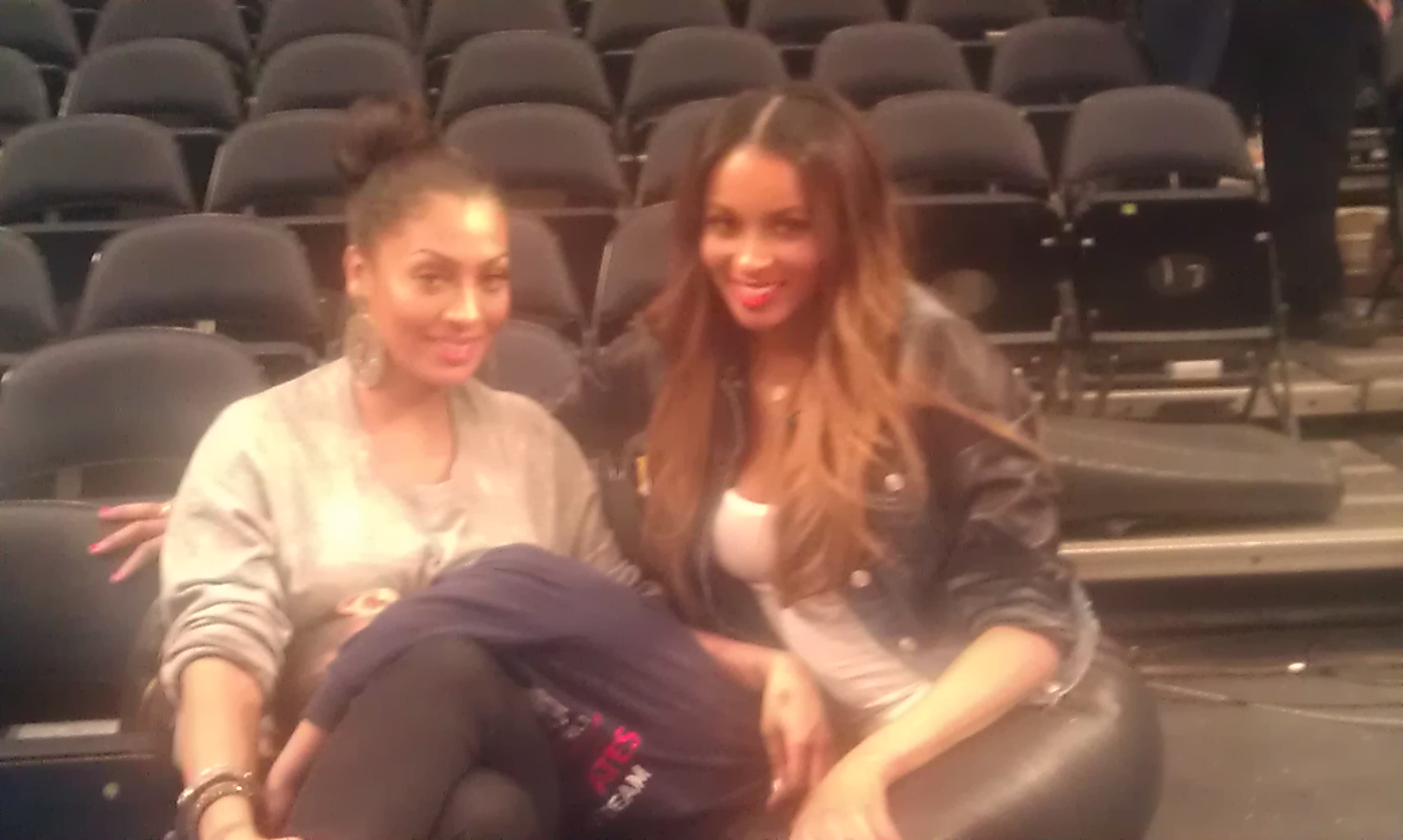LaLa and Ciara at the Knicks/Magic Game